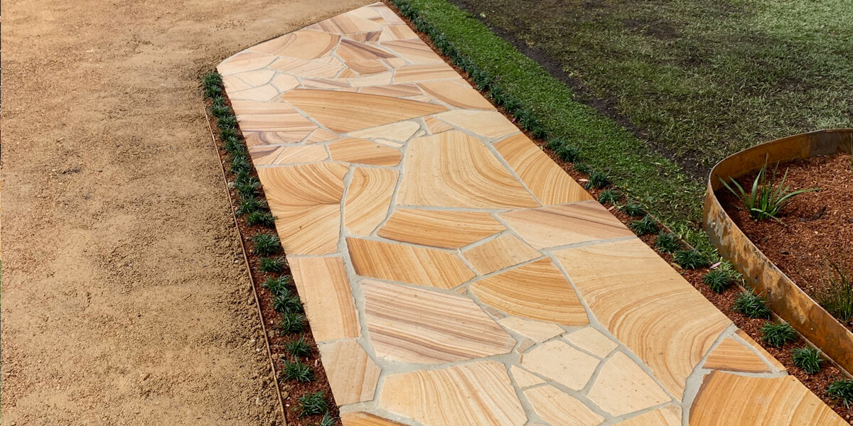 Sydney Sandstone yellow banded crazy paving
