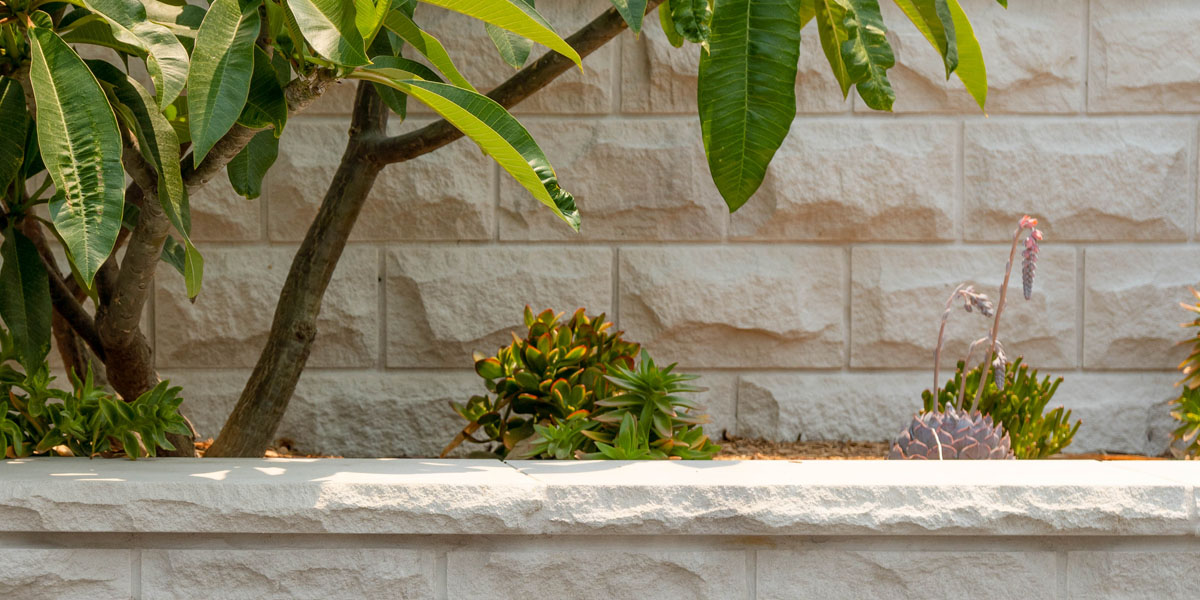 White rockfaced Sydney Sandstone Wall Cladding