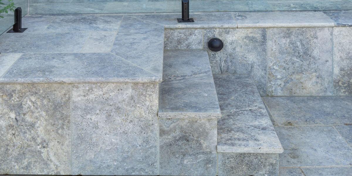 Silver Travertine pavers Armstone